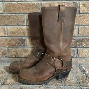 FRYE brown leather harness boots size 6